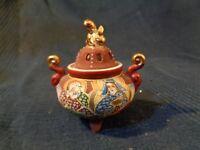 Brucia Incenso IN Ceramica Cinese Antico Vintage Motivo Decorativo Leone Dorato