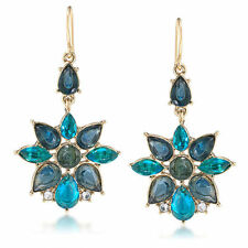 CAROLEE 'Central Park Boathouse' Aqua Blue Flower Drop Gold Tone Earrings