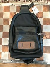 Men's Coach Terrain Pack Black Leather With Brown Accents - NWT F56877