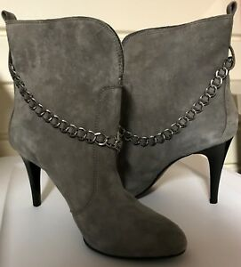 BCBG  Ankle Boots New 9.5M Finito Grey  Kidsuede In Box Free Ship to USA