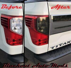 Tail Light Reverse Light Blackout For 2016-2021 Nissan Titan Smoke Vinyl Overlay