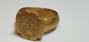 0721. Medieval  Coat Of Arms- Shield Gold Ring  15en,16en Century AD