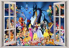 Personaje De Disney Princess Minnie Ventana Pared Adhesivo 3D Dormitorio Niñas Niños Niños