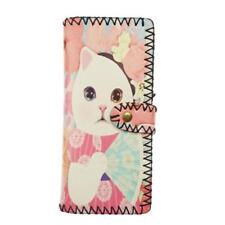 New Pink Cat PU Leather Slim Clutch Wallet Girls Ladies Synthetic Purse Faux
