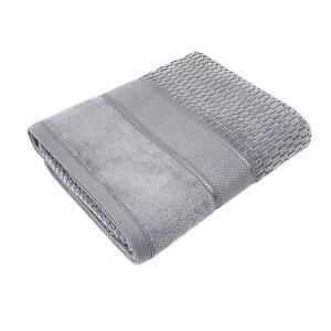 4 PCE SET LUXURY STRIPED COTTON VELVET LOOK FEEL SILVER GREY HAND BATH TOWELS