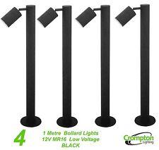 4 x BLACK 1 Metre DIY Garden Adjustable Bollard Light 12V MR16 Low Voltage