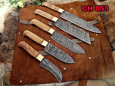 Chef knives 5 piece set, overall 54 inches full tang hand forged Damascus steel