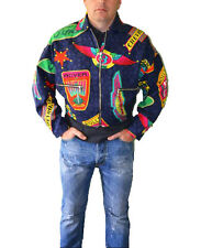 VERSACE Mens Vtg 90s Blue Unique Rare Limited Edition Aviator Bomber Crop Jacket