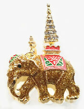BROOCH THAI ELEPHANT  PIN NICKEL GOLD CRYSTAL COLLECTION SOUVENIR
