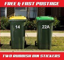 TWO Wheelie Rubbish Garbage Bin Sticker House Number Identification Vinyl Decal