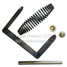 "BBQ Smoker Stainless Spring Handle Assembly 1/2"" Rod Bracket Caps UDS Lid Parts"