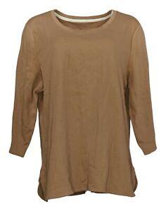 Isaac Mizrahi Live! Women's Top Sz XL Essentials Tulip Hem Top Brown A384444
