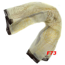 FOULARD SCARF DA DONNA IN CHIFFON MULTICOLORE 60x60CM FIORI ROSE F73