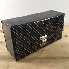 Vintage Cassette Tape Case Storage Holder Black Striped Box