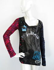 DESIGUAL Womens Top Blouse Rainbow Sequins Embellished size L