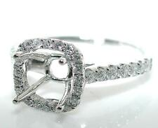 0.4 CT CUSHION Halo Diamond MOUNTING Ring Setting 14K White Gold