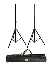 NJS Heavy Duty Adjustable Black 35mm Aluminium Speaker Stand Kit With Carry Bag