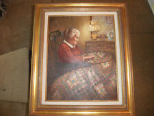 """Clair Freedman """"Quietly Quilting"""" Original Oil Painting // Absolutely Stunning /"""