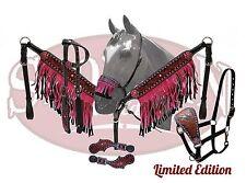 5 Piece PINK Bling & Fringe Western Leather Bridle & Breast Collar Tack Set