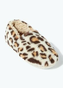 Ladies Brown Leopard Print Slippers Size's 3-8