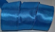 """Wired Ribbon~Blue~10 yds~Wrinkled~Metallic Silver~2.5""""~Wreath~Holiday~Gift~Bow"""