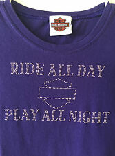 Harley Davidson Tee Micro Studded Nevada V Neck Ride Play Shirt Women's Medium