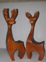 """Set of 2 Vintage MCM Mid Century Wood Wooden Reindeer Danish Modern Teak - 7"""""""
