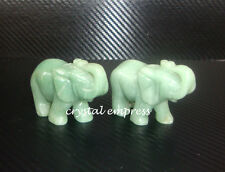 Feng Shui - Pair of Green Aventurine Elephant with Raised Trunk