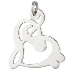 Clef Heart Charm - 925 Sterling Silver - Bass Treble Music Musician Band NEW