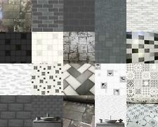 Kitchen Bathroom Tile Stone Wallpaper Washable Vinyl Black White Glitter Vinyl