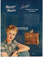 1945 Bendix Radio Cabinet Glamorous Woman Art Vintage Print Ad