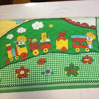 "Train Toys Apples Green Calico 35"" x 41"" Quilt Handmade Wallhanging"