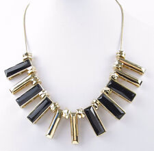 $85 Kenneth Cole New York Jet Black Faceted Rectangle Bead Frontal Necklace