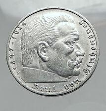1935 Germany 2nd President Paul von Hindenburg Silver German 5 Marks Coin i64400