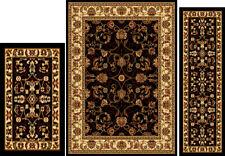 New listing Traditional Black Oriental 3 Pieces Vine Persien Border Area Rug Runner Mat Set