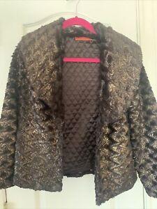ALICE + OLIVIA Stacey Bendet $396 Brown Copper Faux Fur Coat Jacket S Used