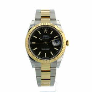 Rolex Datejust 41 126333 18ct Yellow Gold and Steel Black Dial Box Papers 2018