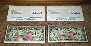 WONDROUS Pair of 2005 Dumbo $1 Note Disney Dollars - Consecutive Serial Numbers!