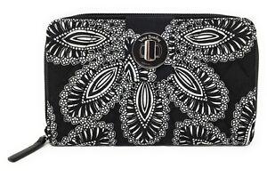 Vera Bradley Turnlock Wallet in Blanco Bouquet with Black Interiors