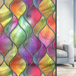 Flower Floral Mosaic Static Cling Stained Glass Sticker Door Window Film Privacy