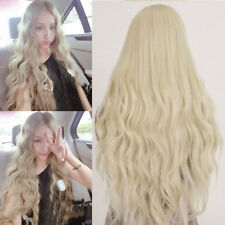 Long Curly Wavy Women's Hair Wig Light Blonde Heat Resistant Synthetic Cosplay