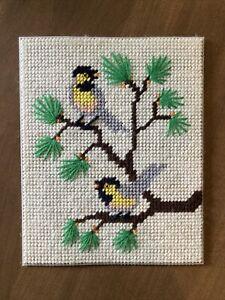 "Vintage Yarn Art, Birds On Branches, 10"" x 8"", unframed"