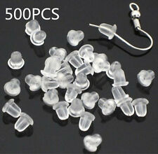 500PCS Silicone Earring Back Plugs Stoppers Ear Post Nuts 4MM Jewelry Findings