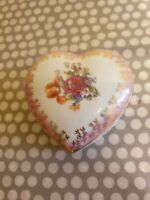 Vintage PM Dresden. GDR. Heart Shaped Porcelain Trinket Box. Pink, Gold & Floral