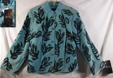NWT! TERRY LEWIS TEAL GREEN SEA REEF EMBELLISHED SUEDE LEATHER LINED JACKET 1X