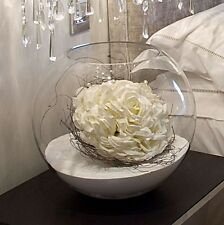 Large Glass Round Fish Bowl Style Bud Flower Vase Terrarium 20cm High x 15 rim