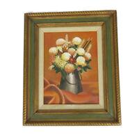 Vtg Framed Still Life Mums Fall Flowers Bouquet Oil Painting 1972 Signed