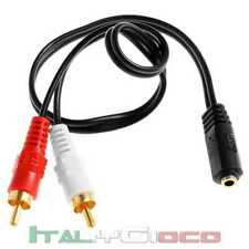 Cavo Audio Stereo Jack 3.5 mm Femmina a 2 x RCA Maschio Aux Adattatore Y Stereo