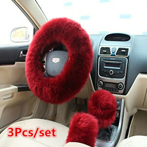 Universal 3Pcs Wool Furry Fluffy Thick Car Steering Wheel Cover Red Wine Color