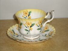 Royal Albert Tea Cup and Saucer #4468 Yellow Flowers Floral